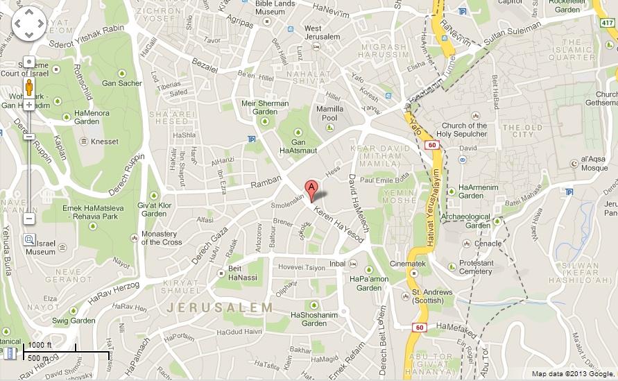 Map Keren HaYesod 19 Jerusalem Israel Real Estate