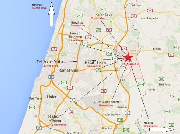 Rosh HaAyin Map