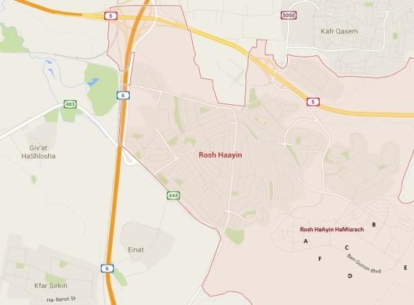 Rosh HaAyin Mizrach map